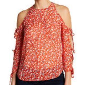 Veronica Beard Flynn Red Floral Print Blouse